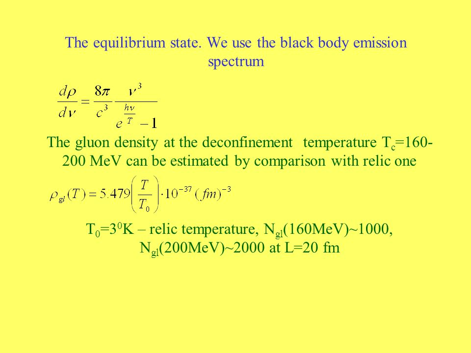 The equilibrium state. We use the black body emission spectrum The gluon density at the deconfinement temperature T c =160- 200 MeV can be estimated b