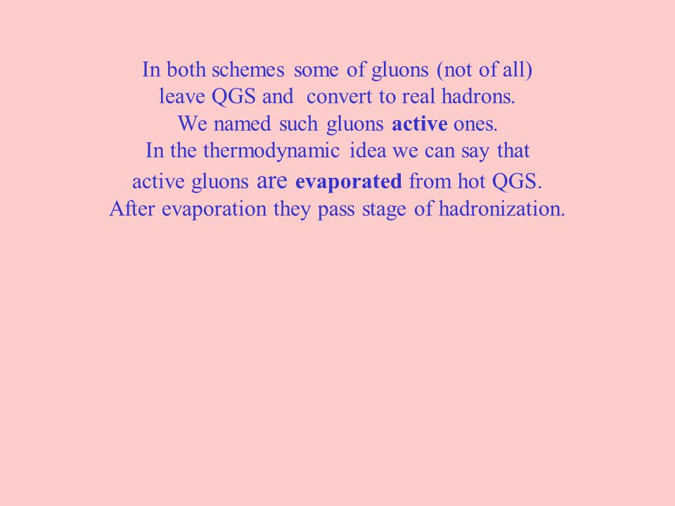 In both schemes some of gluons (not of all) leave QGS and convert to real hadrons. We named such gluons active ones. In the thermodynamic idea we can