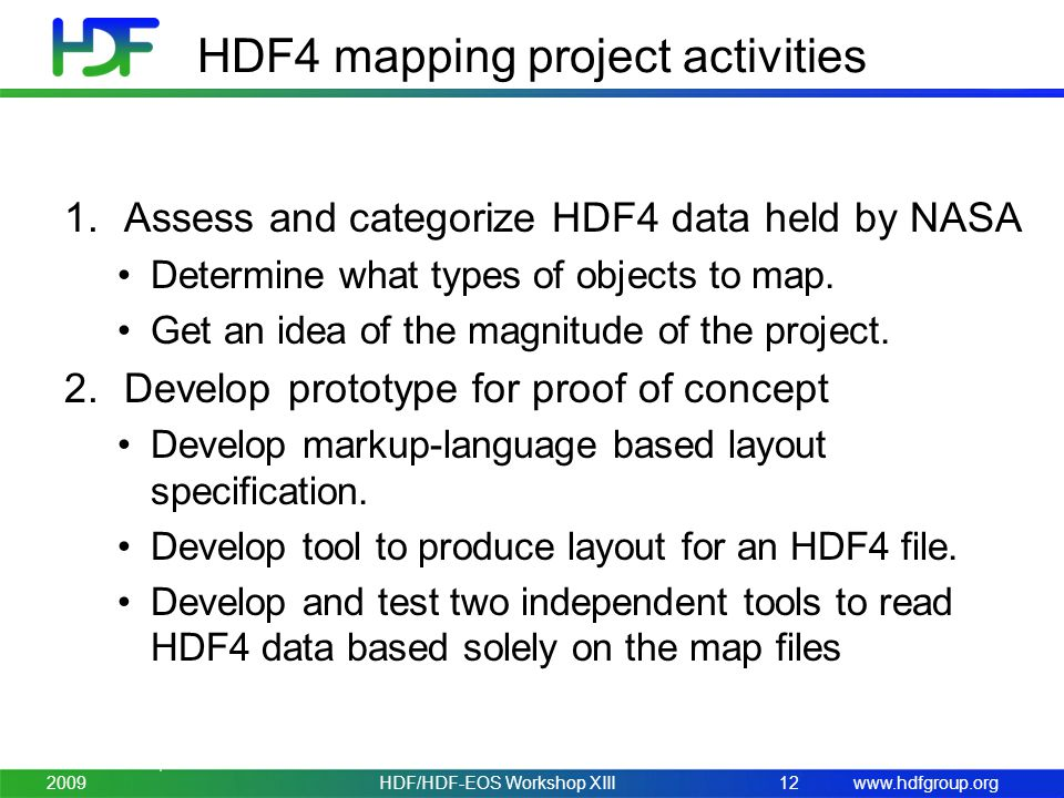 www.hdfgroup.org HDF4 mapping project activities 1.Assess and categorize HDF4 data held by NASA Determine what types of objects to map.