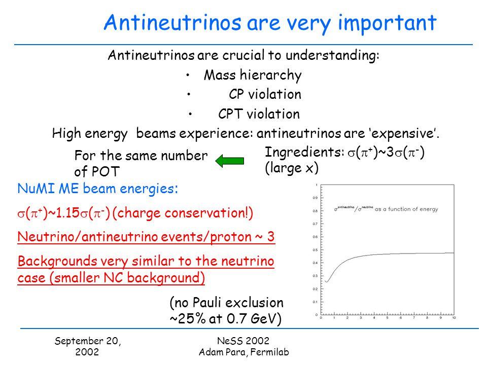 September 20, 2002 NeSS 2002 Adam Para, Fermilab Antineutrinos are very important Antineutrinos are crucial to understanding: Mass hierarchy CP violat