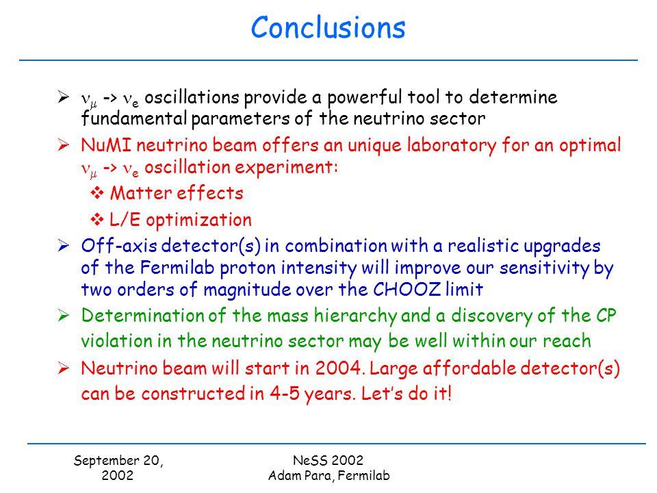 September 20, 2002 NeSS 2002 Adam Para, Fermilab Conclusions -> e oscillations provide a powerful tool to determine fundamental parameters of the neut