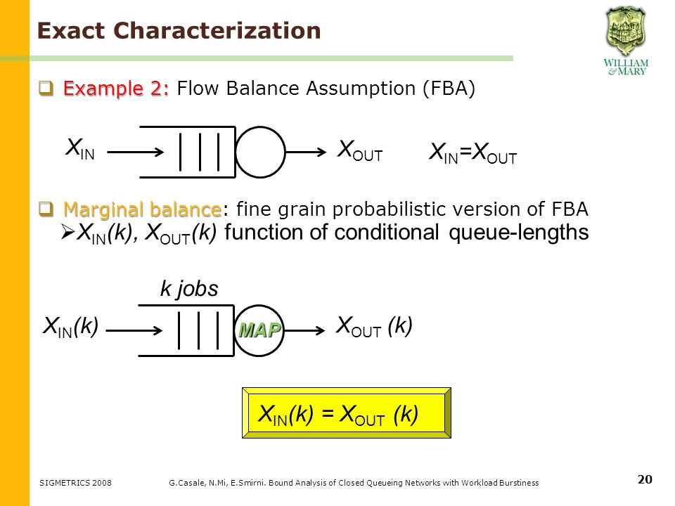 Example 2: Example 2: Flow Balance Assumption (FBA) Marginal balance Marginal balance: fine grain probabilistic version of FBA X IN (k) = X OUT (k) Exact Characterization G.Casale, N.Mi, E.Smirni.