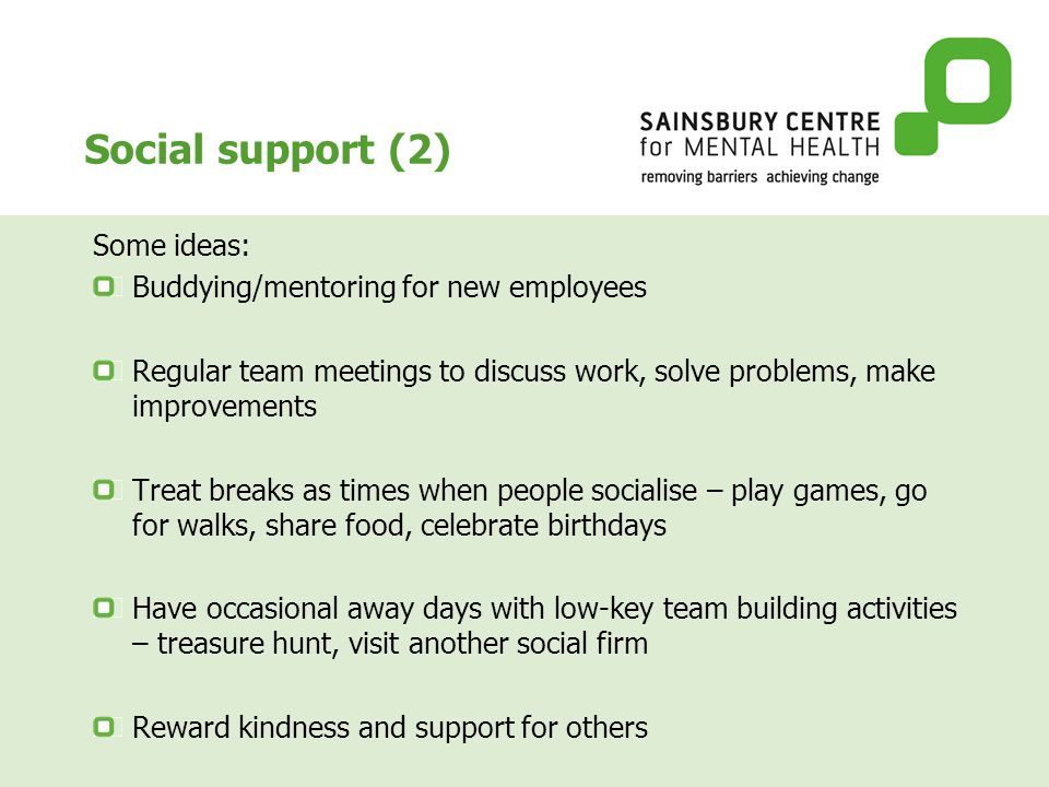 Social support (2) Some ideas: Buddying/mentoring for new employees Regular team meetings to discuss work, solve problems, make improvements Treat breaks as times when people socialise – play games, go for walks, share food, celebrate birthdays Have occasional away days with low-key team building activities – treasure hunt, visit another social firm Reward kindness and support for others