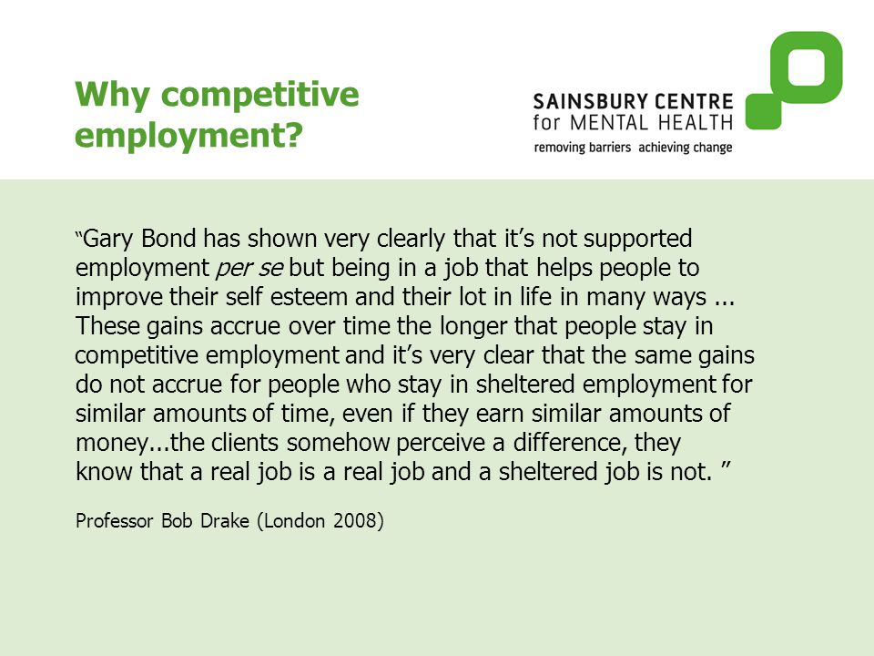 Why competitive employment.