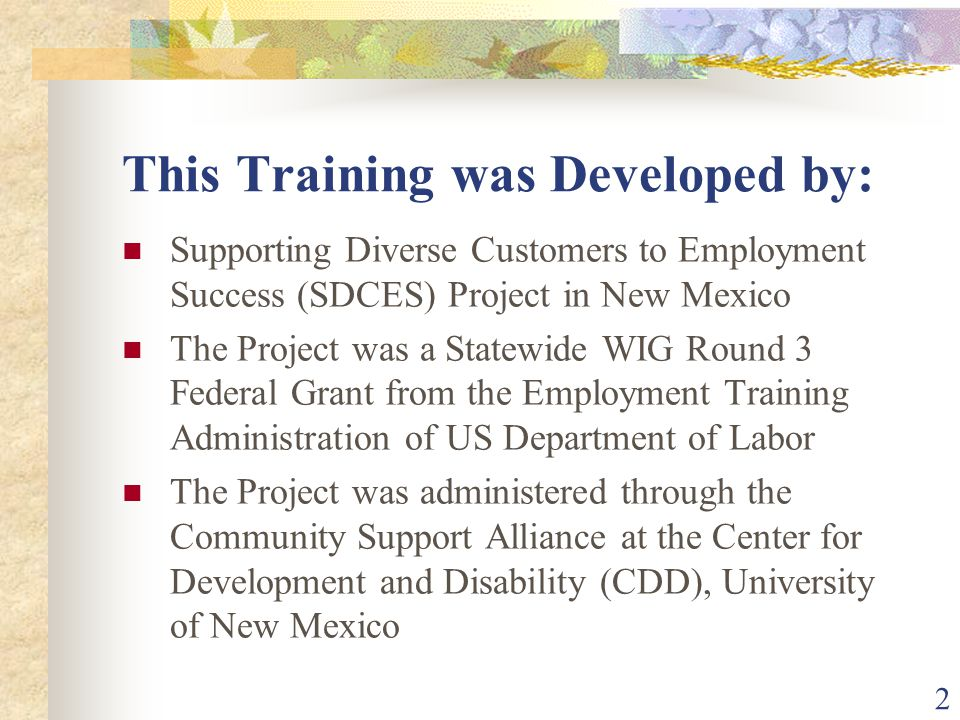 2 This Training was Developed by: Supporting Diverse Customers to Employment Success (SDCES) Project in New Mexico The Project was a Statewide WIG Rou