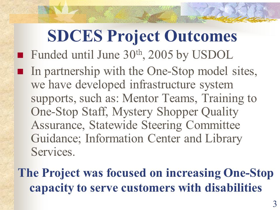 3 SDCES Project Outcomes Funded until June 30 th, 2005 by USDOL In partnership with the One-Stop model sites, we have developed infrastructure system