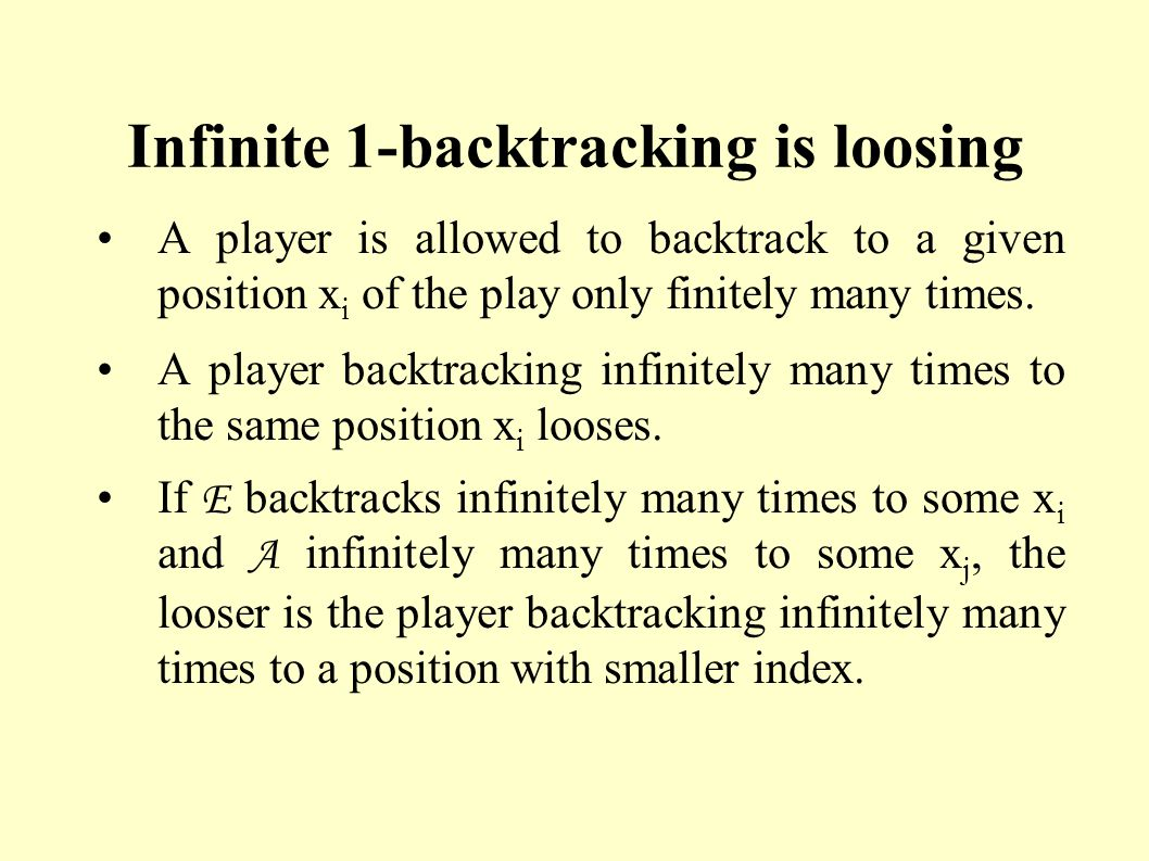 Infinite 1-backtracking is loosing A player is allowed to backtrack to a given position x i of the play only finitely many times. A player backtrackin