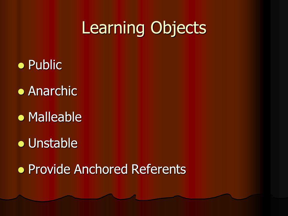 Learning Objects Public Public Anarchic Anarchic Malleable Malleable Unstable Unstable Provide Anchored Referents Provide Anchored Referents