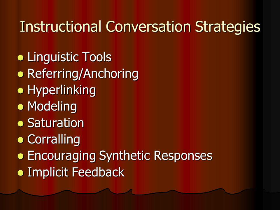 Instructional Conversation Strategies Linguistic Tools Linguistic Tools Referring/Anchoring Referring/Anchoring Hyperlinking Hyperlinking Modeling Modeling Saturation Saturation Corralling Corralling Encouraging Synthetic Responses Encouraging Synthetic Responses Implicit Feedback Implicit Feedback