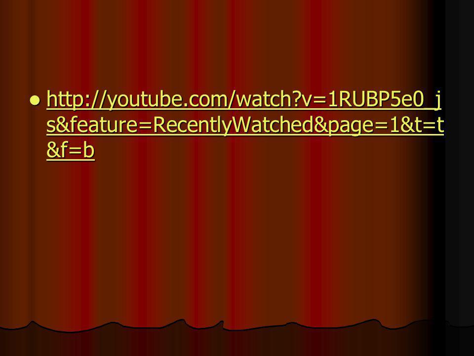 http://youtube.com/watch?v=1RUBP5e0_j s&feature=RecentlyWatched&page=1&t=t &f=b http://youtube.com/watch?v=1RUBP5e0_j s&feature=RecentlyWatched&page=1