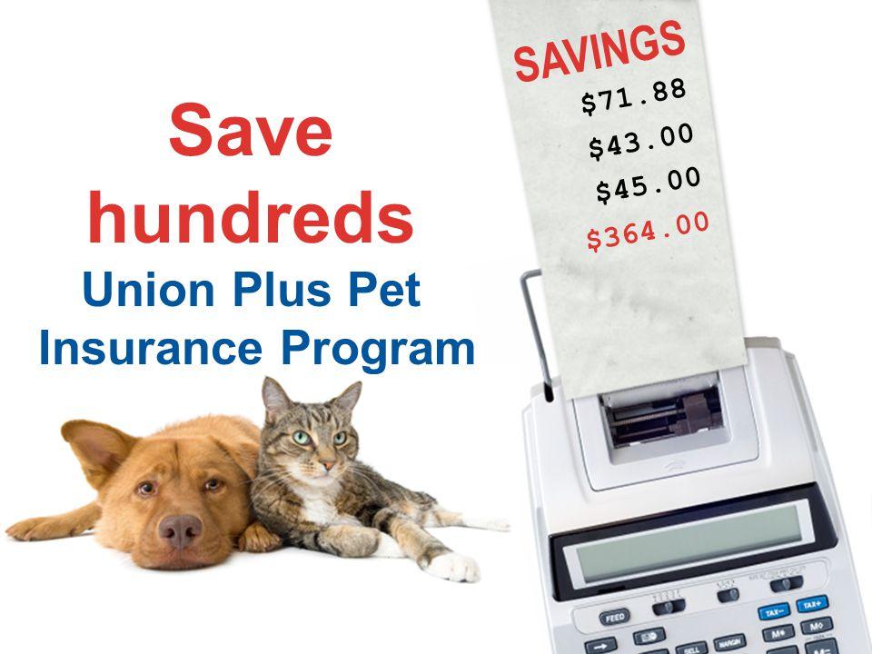 SAVINGS $71.88 $43.00 Save hundreds Union Plus Pet Insurance Program $364.00 $45.00