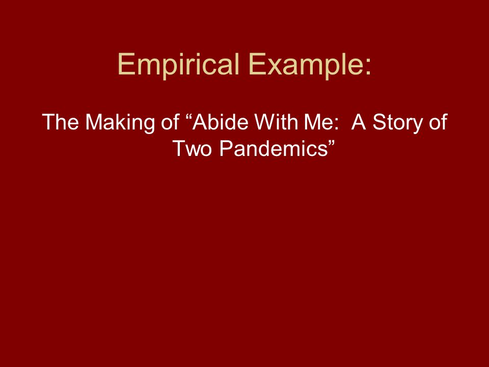 Empirical Example: The Making of Abide With Me: A Story of Two Pandemics