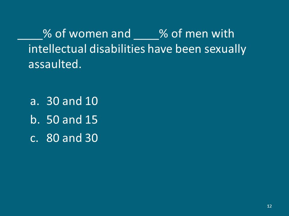 ____% of women and ____% of men with intellectual disabilities have been sexually assaulted.