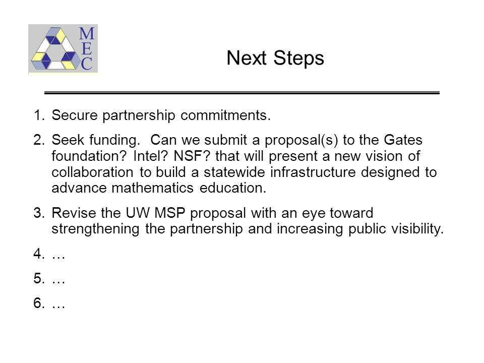 Next Steps 1.Secure partnership commitments. 2.Seek funding. Can we submit a proposal(s) to the Gates foundation? Intel? NSF? that will present a new