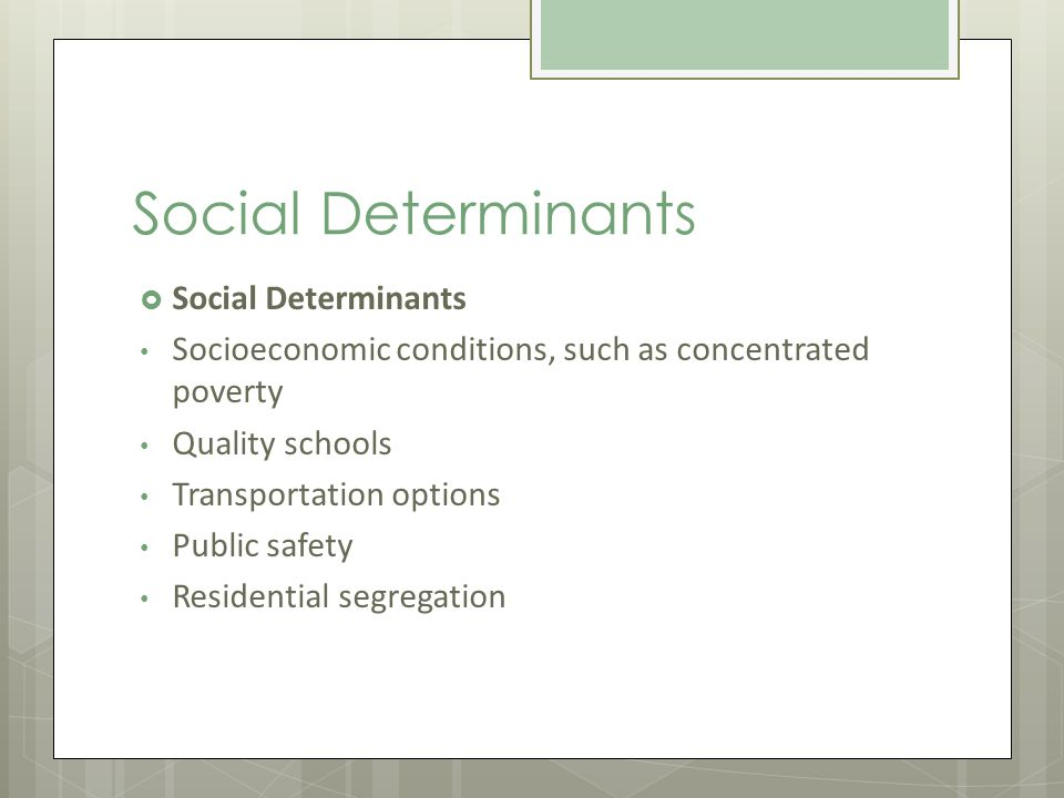 Social Determinants Socioeconomic conditions, such as concentrated poverty Quality schools Transportation options Public safety Residential segregation