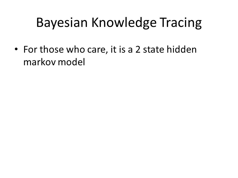 For those who care, it is a 2 state hidden markov model Bayesian Knowledge Tracing