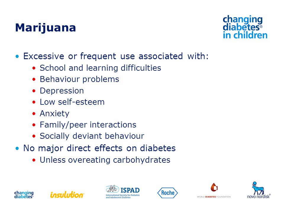 Marijuana Excessive or frequent use associated with: School and learning difficulties Behaviour problems Depression Low self-esteem Anxiety Family/pee