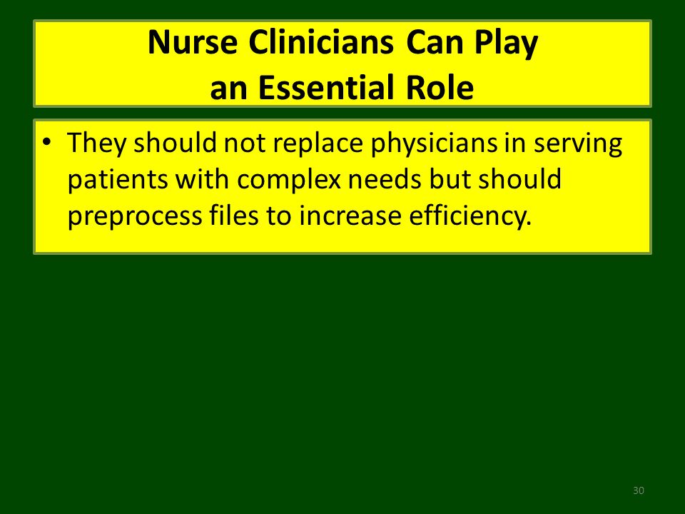 Nurse Clinicians Can Play an Essential Role They should not replace physicians in serving patients with complex needs but should preprocess files to increase efficiency.