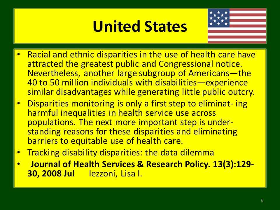 United States Racial and ethnic disparities in the use of health care have attracted the greatest public and Congressional notice. Nevertheless, anoth