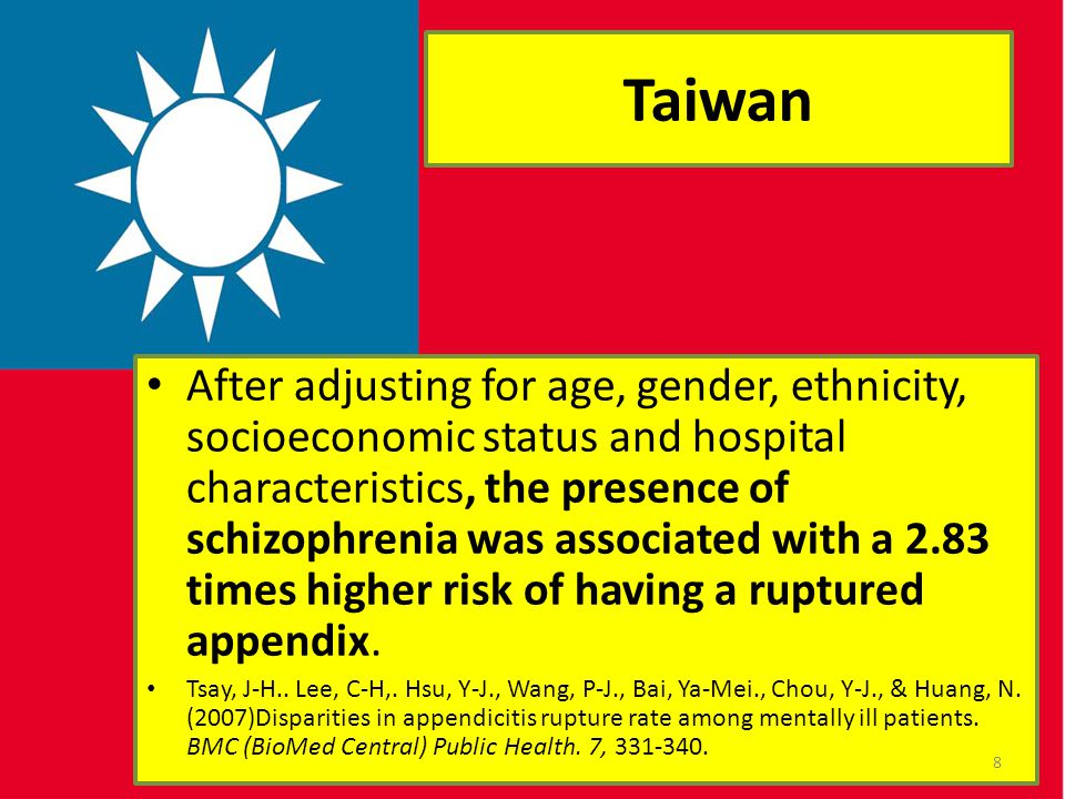 Taiwan After adjusting for age, gender, ethnicity, socioeconomic status and hospital characteristics, the presence of schizophrenia was associated wit