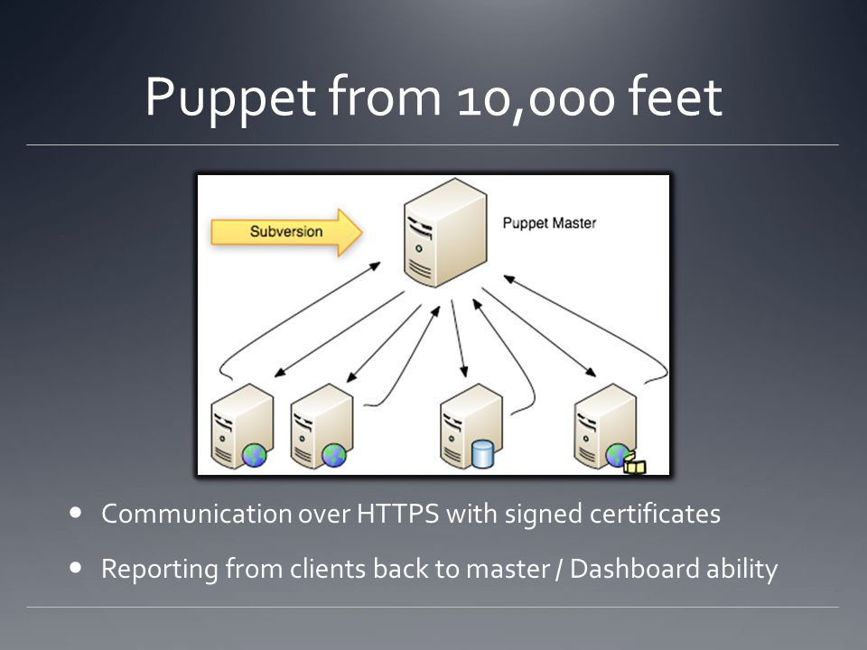 Puppet from 10,000 feet Communication over HTTPS with signed certificates Reporting from clients back to master / Dashboard ability