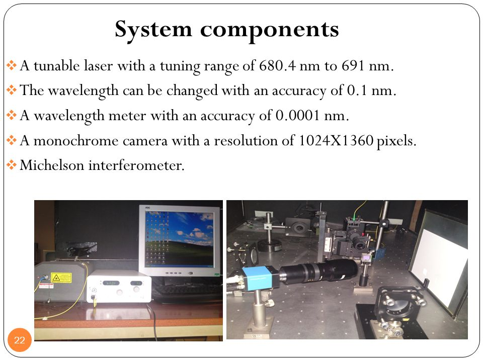 22 A tunable laser with a tuning range of 680.4 nm to 691 nm. The wavelength can be changed with an accuracy of 0.1 nm. A wavelength meter with an acc
