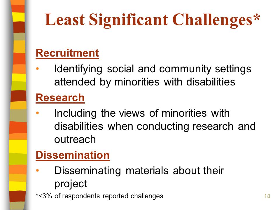 18 Least Significant Challenges* Recruitment Identifying social and community settings attended by minorities with disabilities Research Including the views of minorities with disabilities when conducting research and outreach Dissemination Disseminating materials about their project *<3% of respondents reported challenges