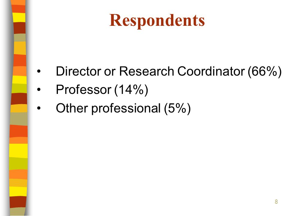 8 Respondents Director or Research Coordinator (66%) Professor (14%) Other professional (5%)
