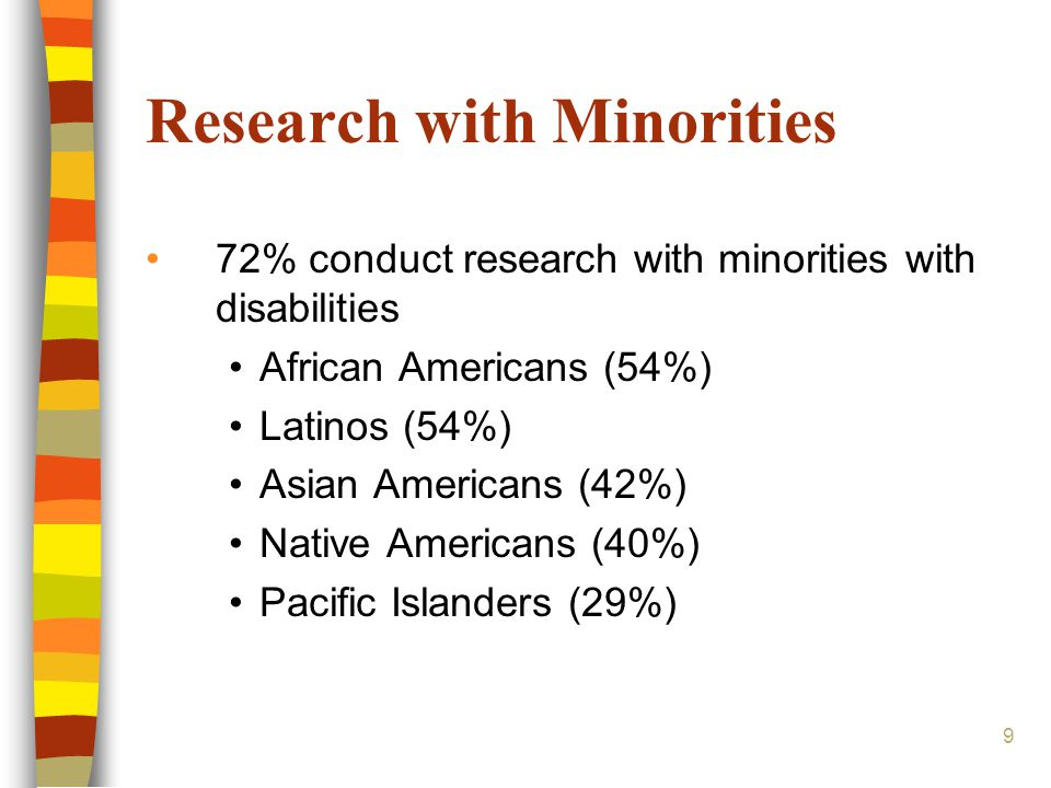 Research with Minorities 72% conduct research with minorities with disabilities African Americans (54%) Latinos (54%) Asian Americans (42%) Native Americans (40%) Pacific Islanders (29%) 9