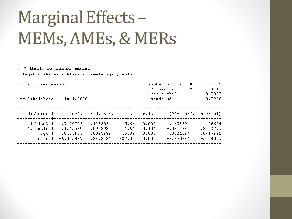 Marginal Effects – MEMs, AMEs, & MERs