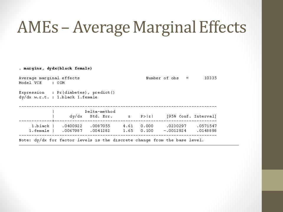 AMEs – Average Marginal Effects
