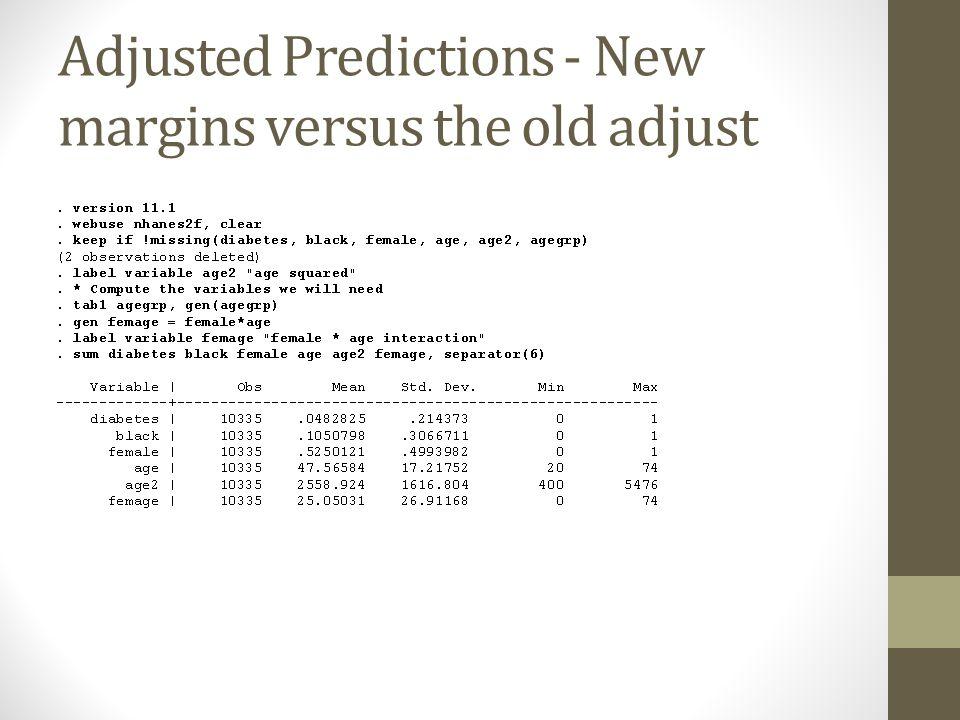 Adjusted Predictions - New margins versus the old adjust