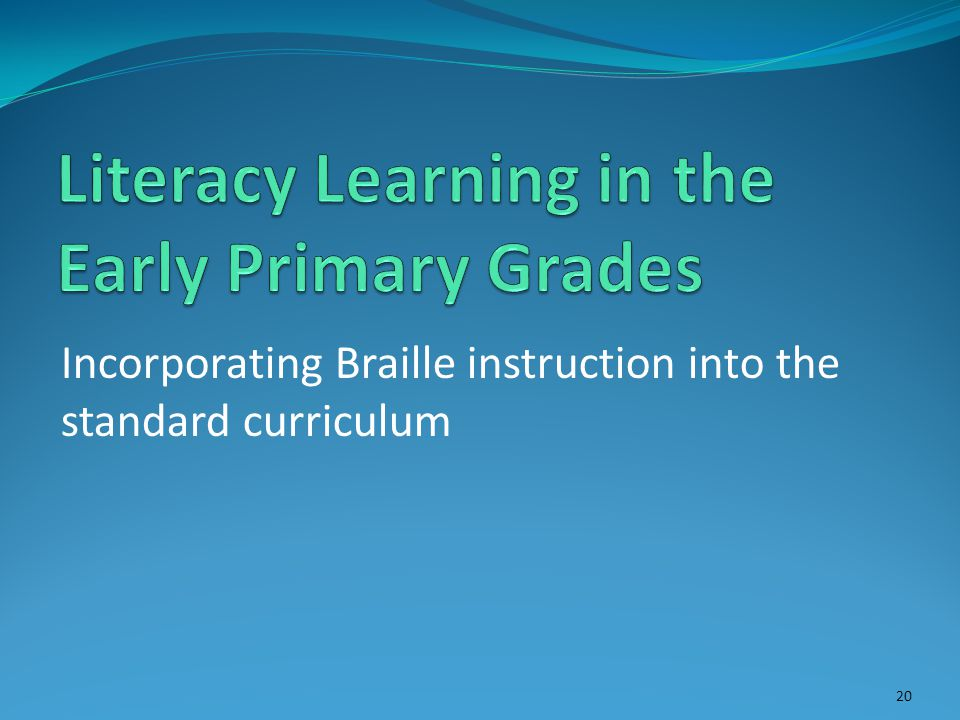 Incorporating Braille instruction into the standard curriculum 20