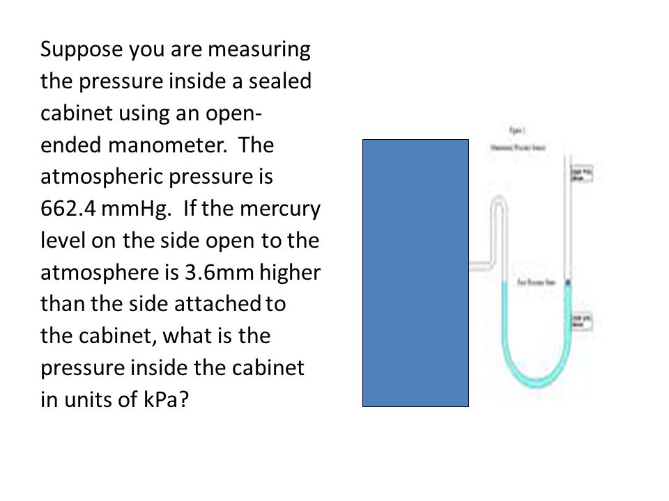 Suppose you are measuring the pressure inside a sealed cabinet using an open- ended manometer. The atmospheric pressure is 662.4 mmHg. If the mercury