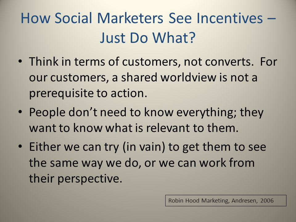 How Social Marketers See Incentives – Just Do What.