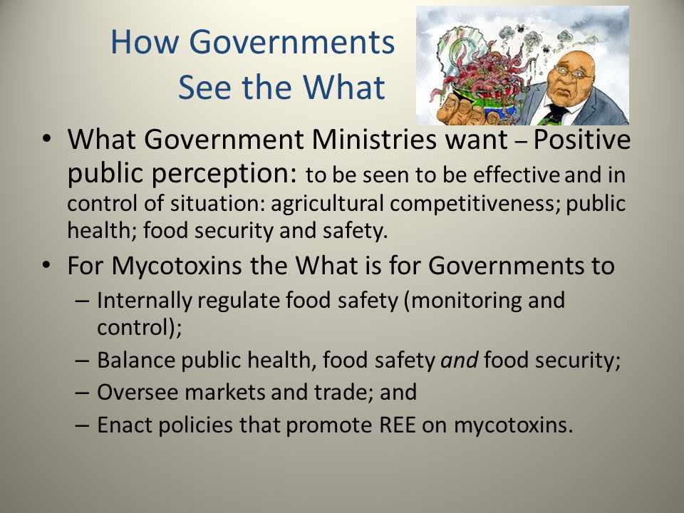 How Governments See the What What Government Ministries want – Positive public perception: to be seen to be effective and in control of situation: agricultural competitiveness; public health; food security and safety.