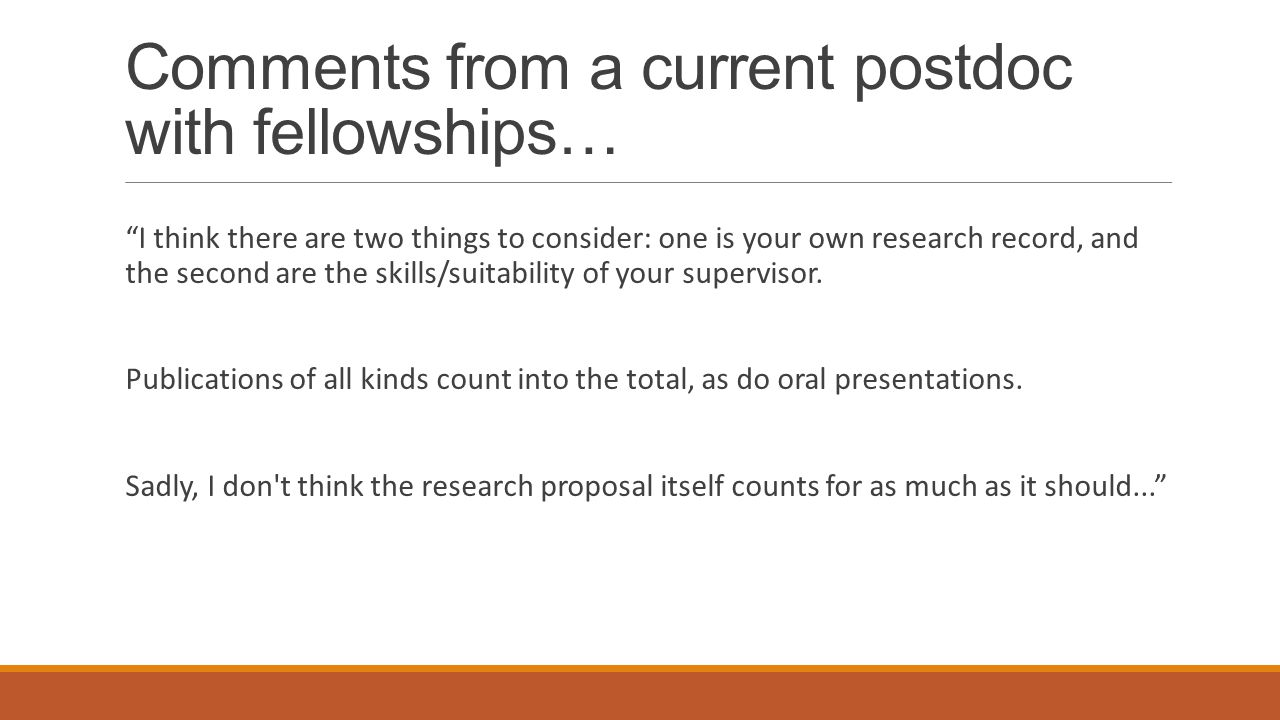 Comments from a current postdoc with fellowships… I think there are two things to consider: one is your own research record, and the second are the sk