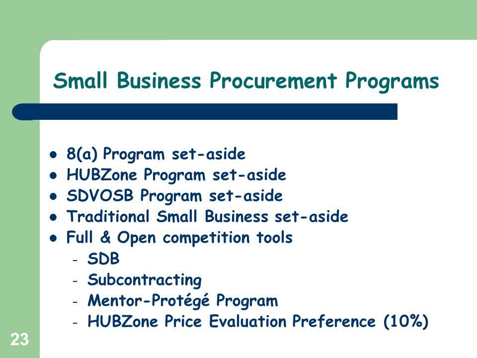 23 Small Business Procurement Programs 8(a) Program set-aside HUBZone Program set-aside SDVOSB Program set-aside Traditional Small Business set-aside