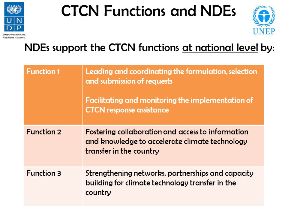 CTCN Functions and NDEs NDEs support the CTCN functions at national level by: Function 1Leading and coordinating the formulation, selection and submission of requests Facilitating and monitoring the implementation of CTCN response assistance Function 2Fostering collaboration and access to information and knowledge to accelerate climate technology transfer in the country Function 3Strengthening networks, partnerships and capacity building for climate technology transfer in the country