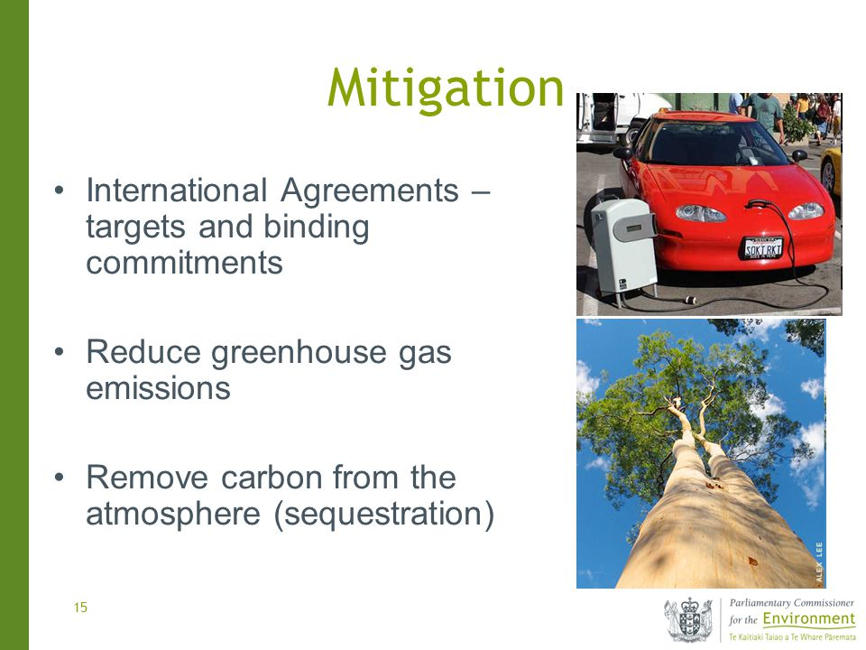 15 Mitigation International Agreements – targets and binding commitments Reduce greenhouse gas emissions Remove carbon from the atmosphere (sequestration)