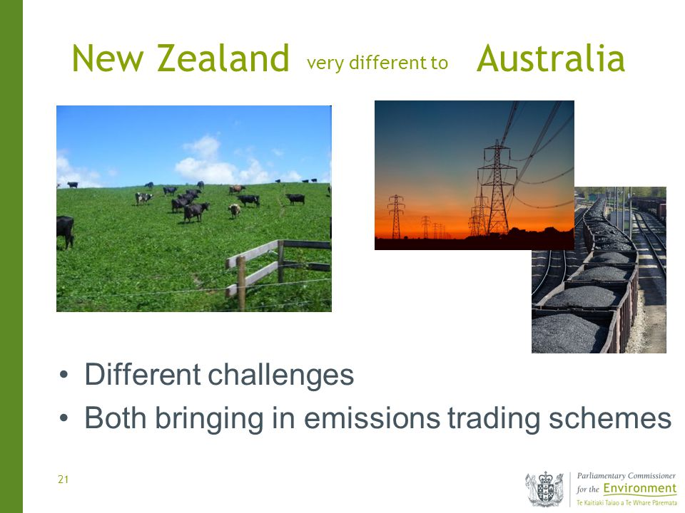 21 very different to Different challenges Both bringing in emissions trading schemes New ZealandAustralia
