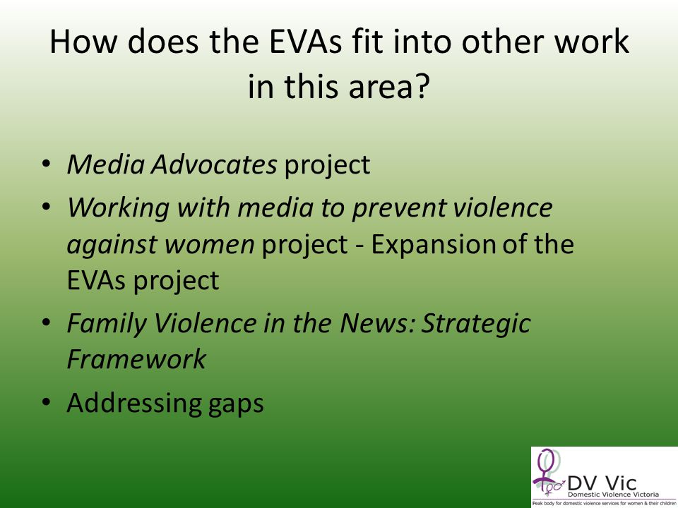 How does the EVAs fit into other work in this area.