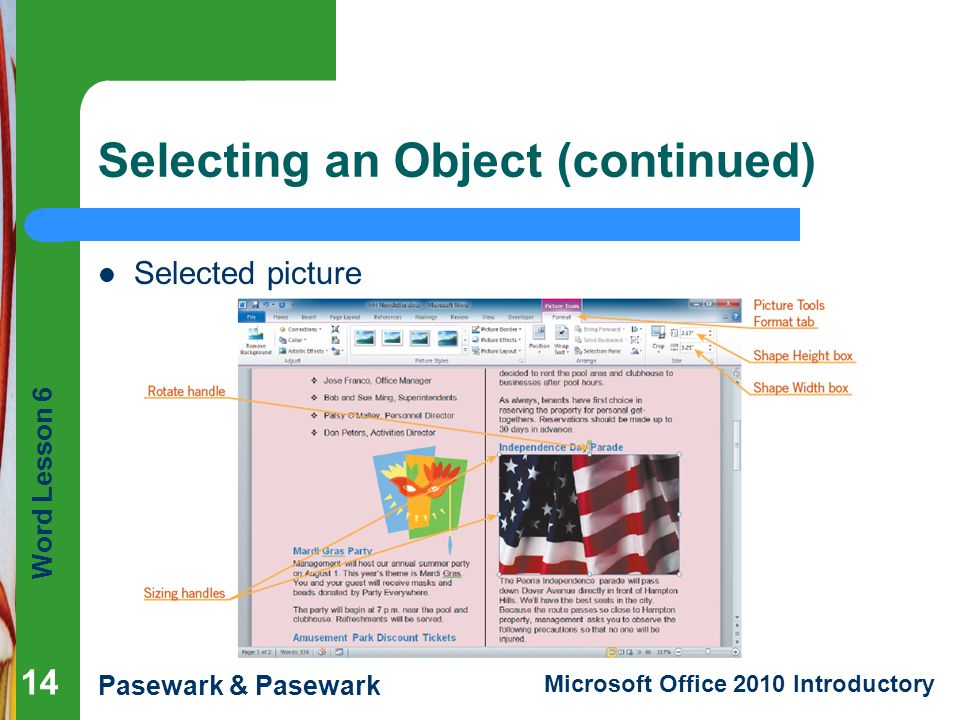 Word Lesson 6 Pasewark & Pasewark Microsoft Office 2010 Introductory Selecting an Object (continued) Selected picture 14