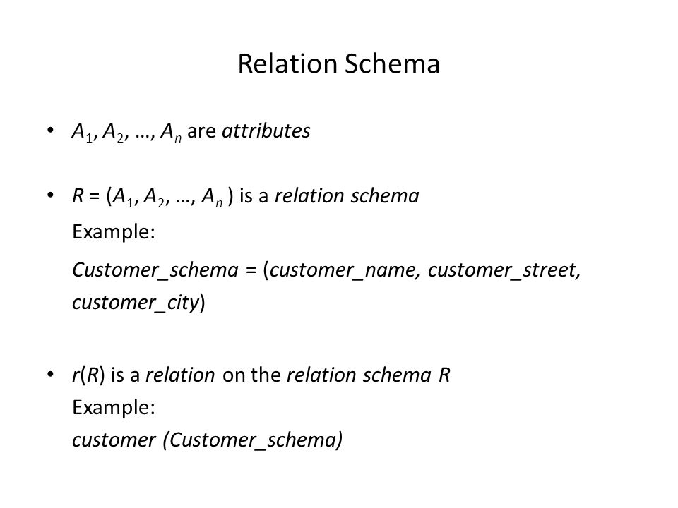 Relation Schema A 1, A 2, …, A n are attributes R = (A 1, A 2, …, A n ) is a relation schema Example: Customer_schema = (customer_name, customer_street, customer_city) r(R) is a relation on the relation schema R Example: customer (Customer_schema)