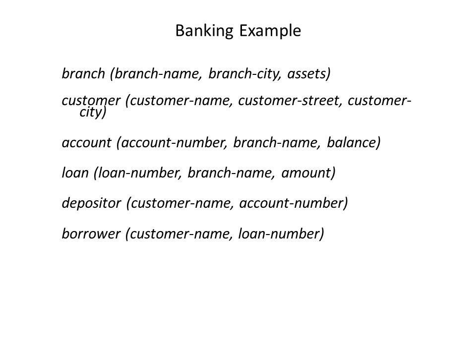 Banking Example branch (branch-name, branch-city, assets) customer (customer-name, customer-street, customer- city) account (account-number, branch-na