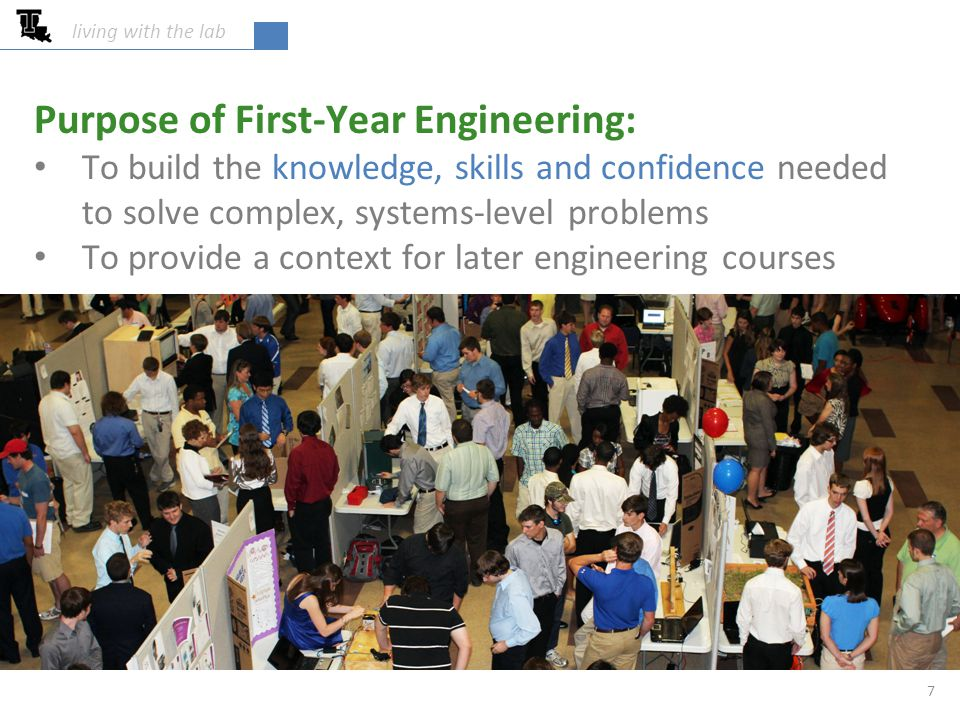 Purpose of First-Year Engineering: To build the knowledge, skills and confidence needed to solve complex, systems-level problems To provide a context