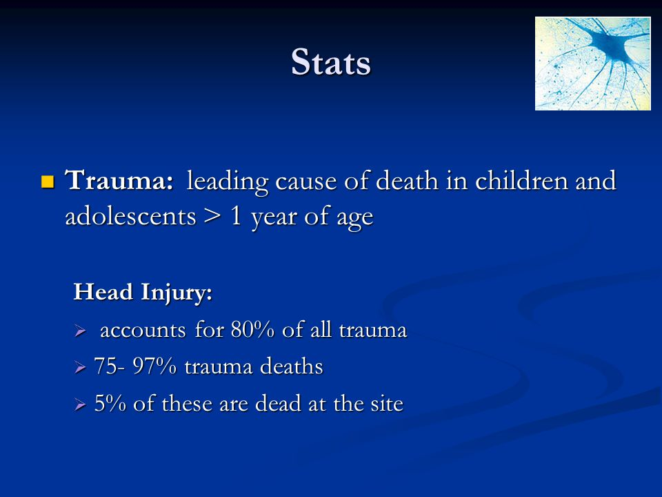 Stats Trauma: leading cause of death in children and adolescents > 1 year of age Trauma: leading cause of death in children and adolescents > 1 year o