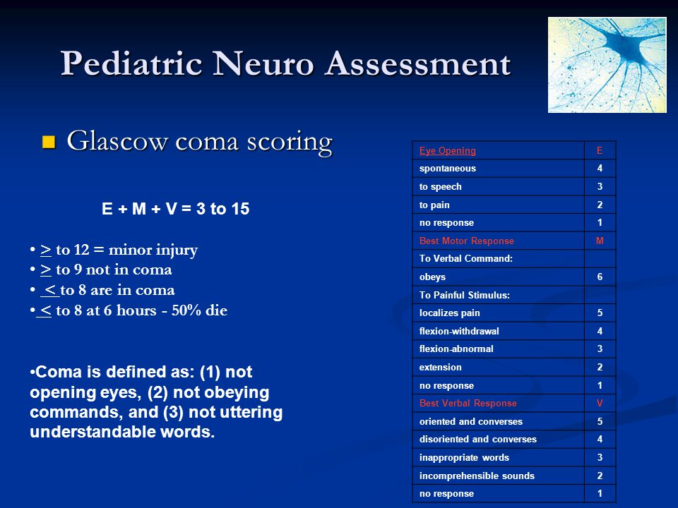 Pediatric Neuro Assessment Glascow coma scoring Glascow coma scoring Eye OpeningE spontaneous4 to speech3 to pain2 no response1 Best Motor ResponseM T