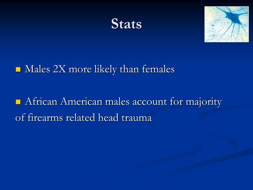 Stats Males 2X more likely than females Males 2X more likely than females African American males account for majority African American males account f