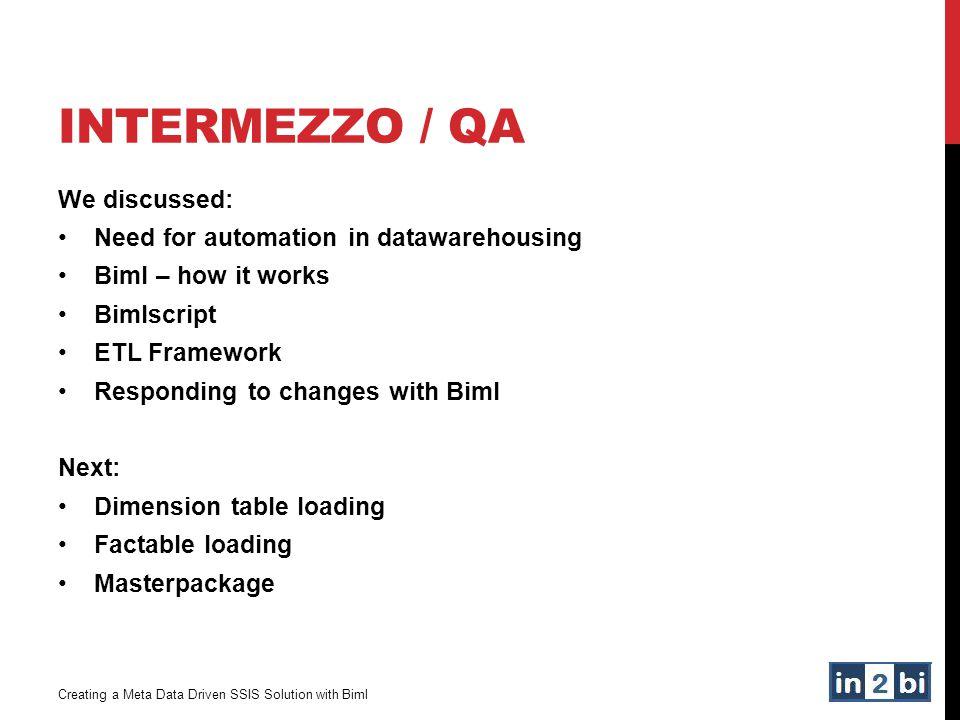 INTERMEZZO / QA We discussed: Need for automation in datawarehousing Biml – how it works Bimlscript ETL Framework Responding to changes with Biml Next